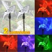Luminária Solar para Jardim Beija-flor 2 Peças CBRN12978