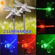 Luminária Solar para Jardim em PVC Libélula 1378 2 Peças