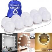 Luz de Espelho LED Maquiagem Camarim USB 10 Lâmpadas + Mochila CBRN18123