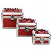 Maleta Frasqueira Maquiagem e Jóias kit 3 peças vermelho CBRN04690