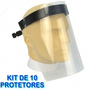 Mascara Protetor Facial Face Shield Ajustável KIT 10 Peças CBRN14040