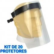 Mascara Protetor Facial Face Shield Ajustável KIT 20 Peças CBRN14057