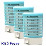 Mata mosquito e pernilongo LED UV kit 3 peças azul CBRN05567
