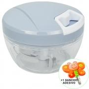 Mini Processador e Triturador de Alimentos Manual 3 Lâminas Azul + Gancho Parede CBRN17867
