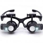 Óculos lupa cabeça com led profissional jogo 4 Lentes CBR03594