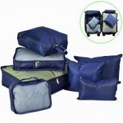 Organizador de Mala Viagem Necessaire Kit 7 Peças Azul Marinho CBRN113661