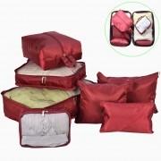 Organizador de Mala Viagem Necessaire Kit 7 Peças Vermelho CBRN113708