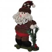 Papai Noel de Luxo Pelúcia com Patinete com 31cm de Altura CBRN0487