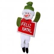 Boneco de Neve com Placa Feliz Natal 12cm de Largura CBRN0357 CD0067