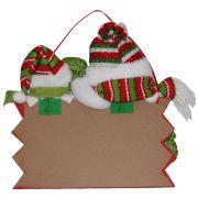 Placa Feliz Natal Boneco de Neve com 28cm de Largura CBRN0296 CD0043