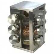 Porta Tempero em Aço Inox 12 Potes de Vidro CBRN06786