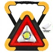 Refletor LED 15W Triângulo Portátil Recarregável LED COB Amarelo + Carregador CBRN16341