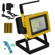 Refletor LED 30W Portátil Recarregável IP65 Luz Emergência + Chaveiro CBRN16440