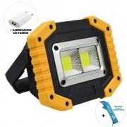 Refletor LED 30W Portátil Recarregável LED COB IP65 Amarelo + Chaveiro CBRN18024