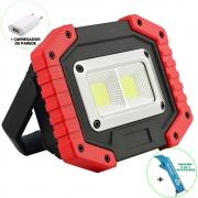 Refletor LED 30W Portátil Recarregável LED COB IP65 Vermelho + Chaveiro CBRN16488