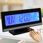 Relógio Digital de Mesa Acionamento Sonoro Preto CBRN07196
