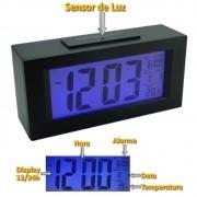 Relógio Digital sensor luz PRETO CBRN01583