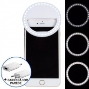 Ring Light Luz de Selfie Para Celular + carregador Branco CBRN08667