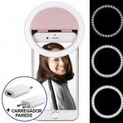 Ring Light Luz de Selfie Para Celular + carregador Rosa CBRN08681
