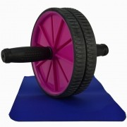Roda para Exercícios Abdominais com Tapete Rosa CBRN14637