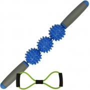 Rolo Bastão Massageador Miofascial 3 Bolas Azul CBRN15733