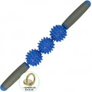 Rolo Bastão Massageador Miofascial 3 Bolas Azul + Suporte Celular CBRN15733