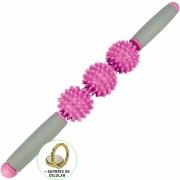Rolo Bastão Massageador Miofascial 3 Bolas Pink + Suporte Celular CBRN15740