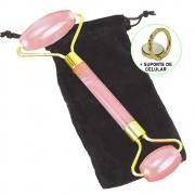 Rolo Massageador Facial Anti Estresse Quartzo Salmão + Suporte Celular CBRN15658