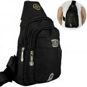 Shoulder Bag Mochila Transversal Bolsa Unisex Preto 01 CBRN12305
