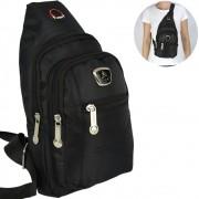 Shoulder Bag Mochila Transversal Bolsa Unisex Preto 06 CBRN14156