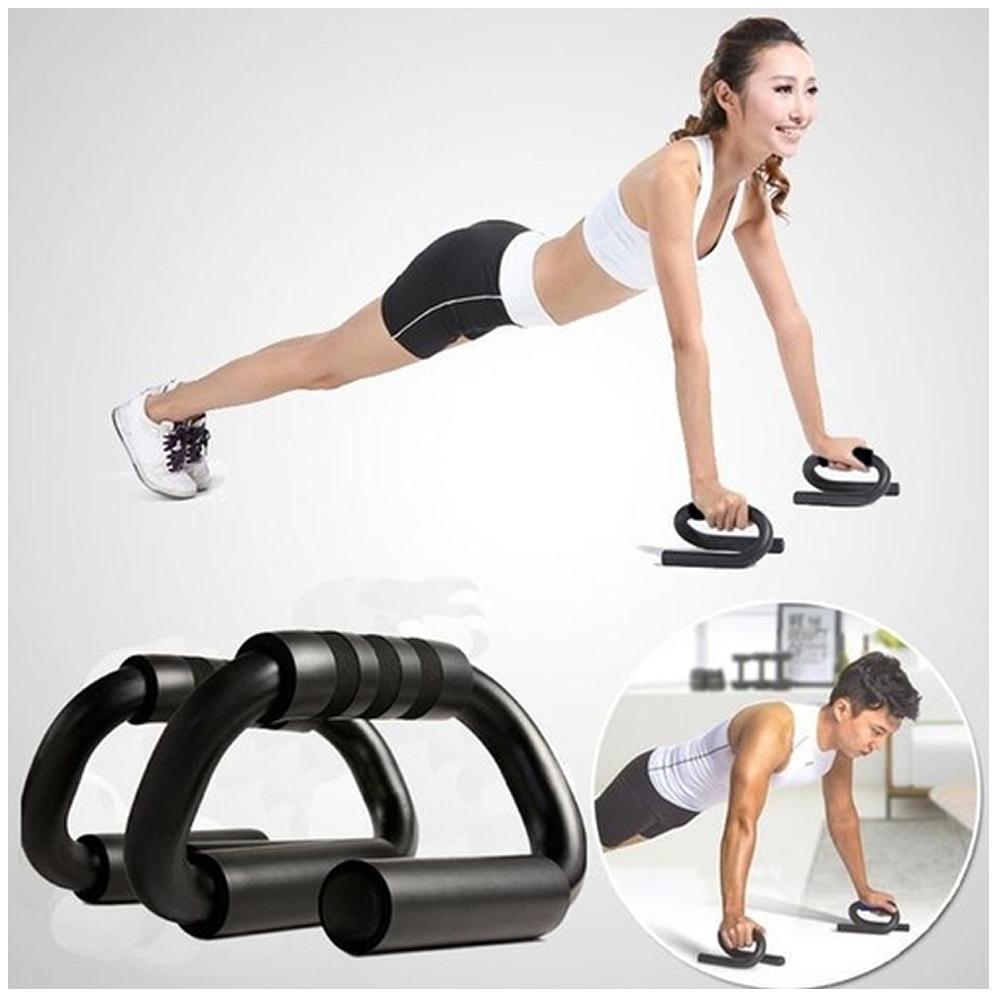 Apoio para Flexão de Braço Fitness Push Up Preto + Elástico de Tensão CBRN16051