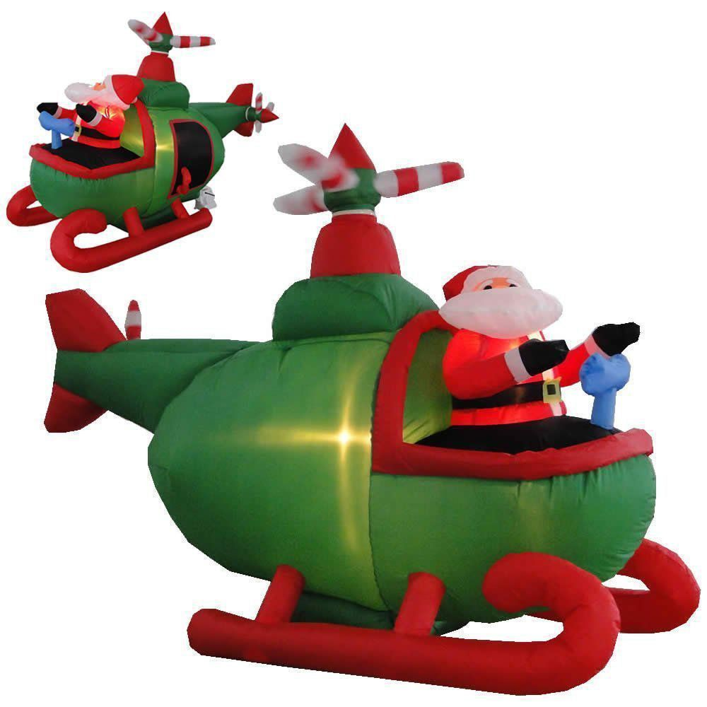 Helicóptero Inflável Decoração de Natal 1,50m de Altura Iluminado 110V CBRN0609 CD1563