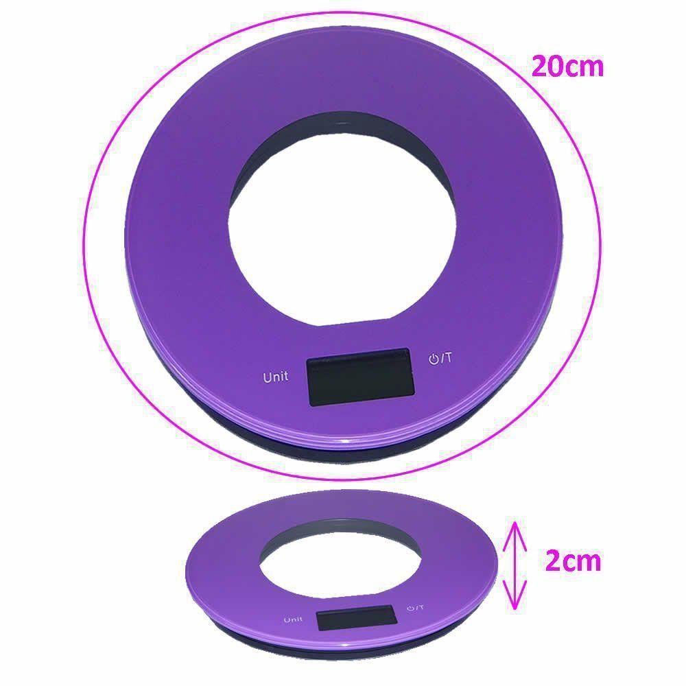 Balança de cozinha  slim design redonda 5 kgs ROXO CBRN01576