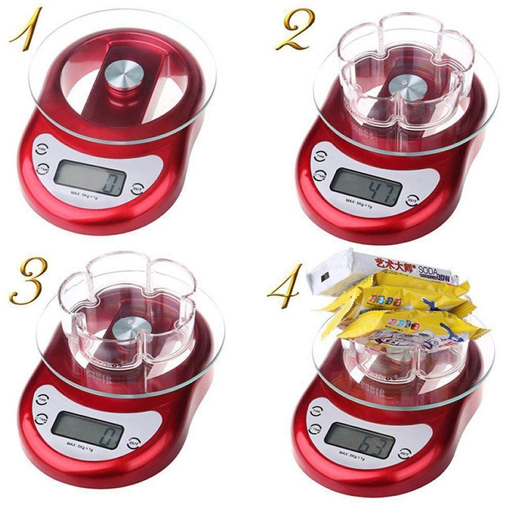 Balança Digital Luxo 5 kgs Vermelho CBRN01675
