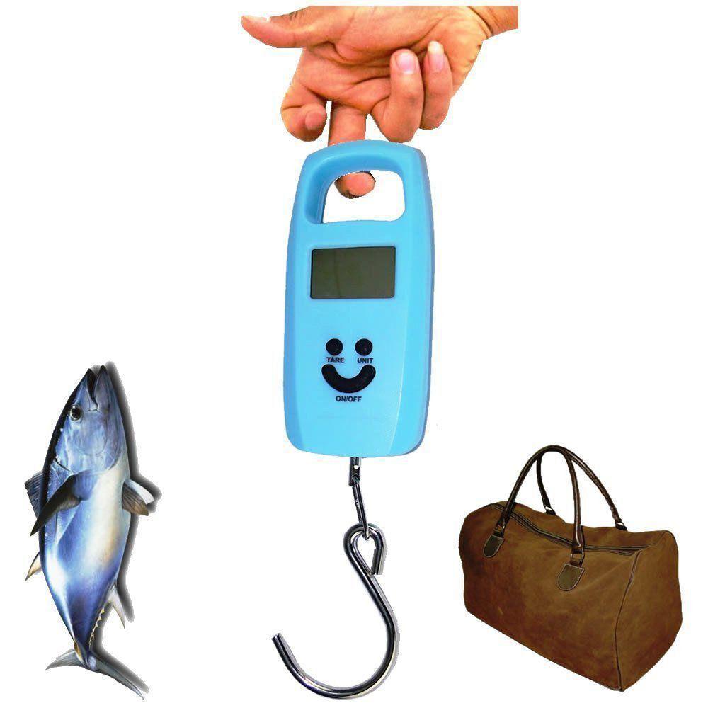 Balança Digital de Bagagem Mala Viagem Pesca 50 kg Gancho AZUL CBRN02658