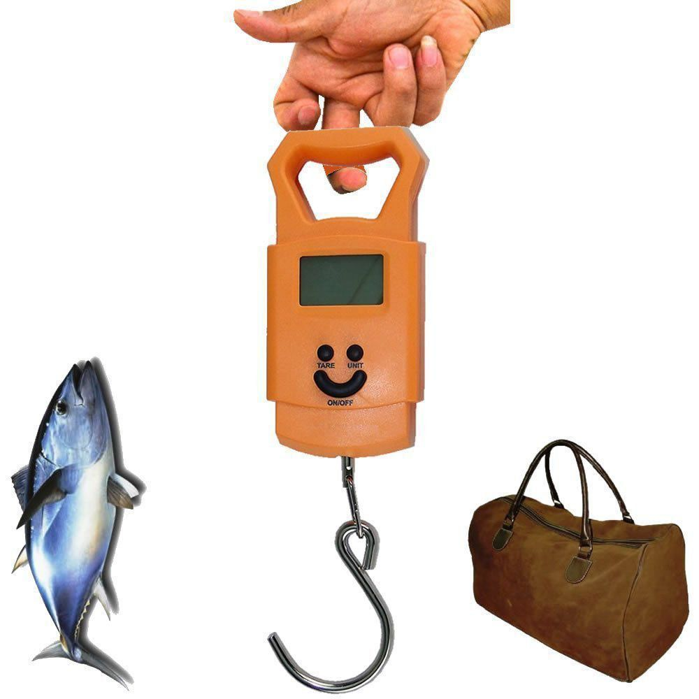 Balança Digital de Bagagem Mala Viagem Pesca 50 kg Gancho LARANJA CBRN02603