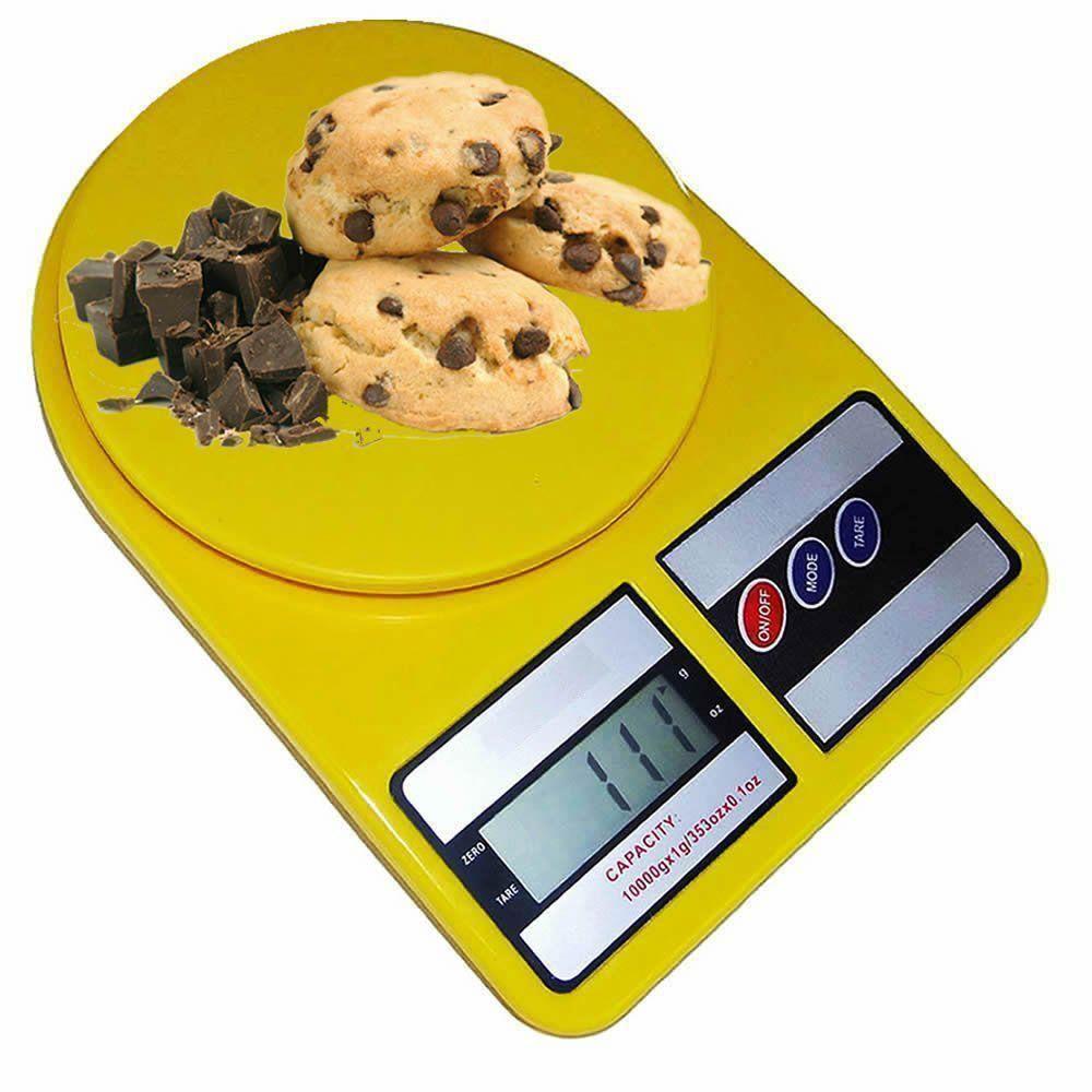 Balança digital de precisão cozinha 1g a 10 kg AMARELA CBRN02566