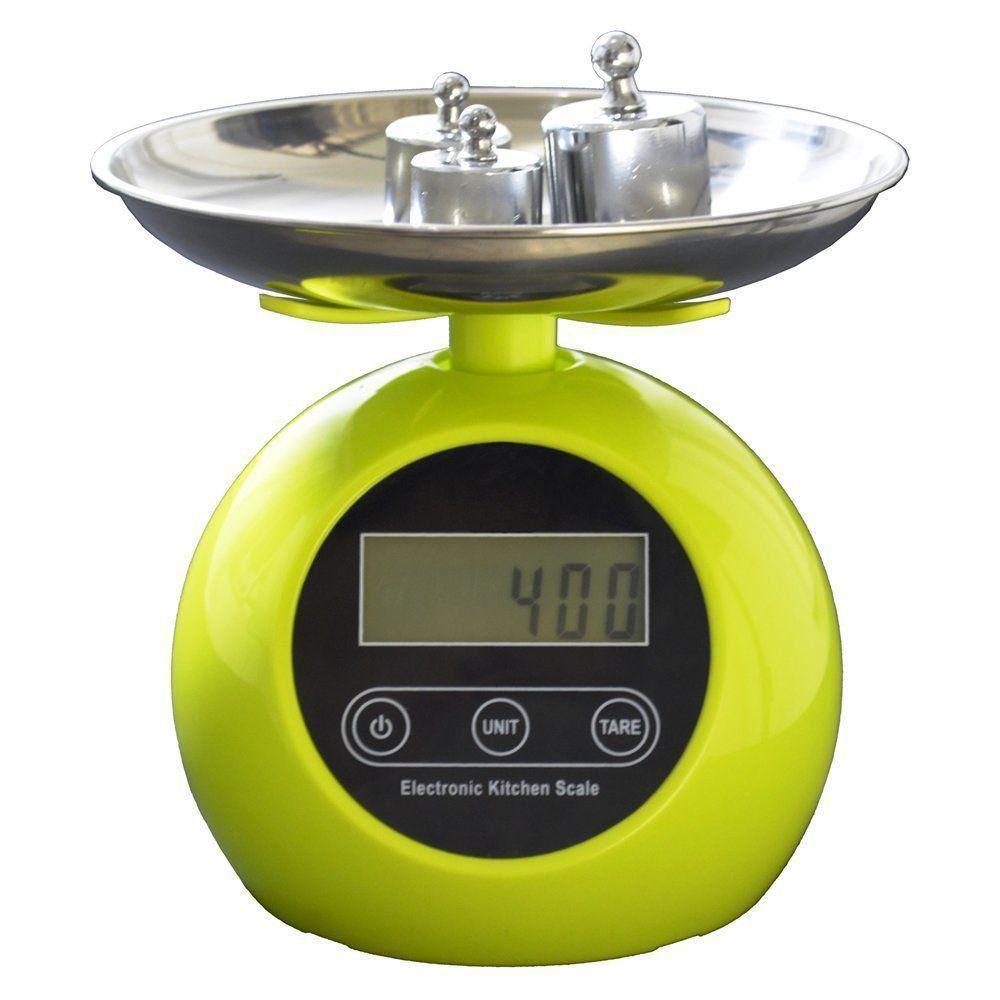 Balança digital de precisão cozinha e comércio 1g a 5 kg com bandeja aço VERDE CBRN02559