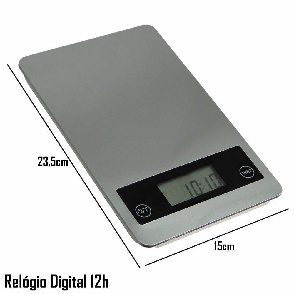 Balança Digital de Precisão Cozinha Comércio 5 kg Relógio CBRN02597