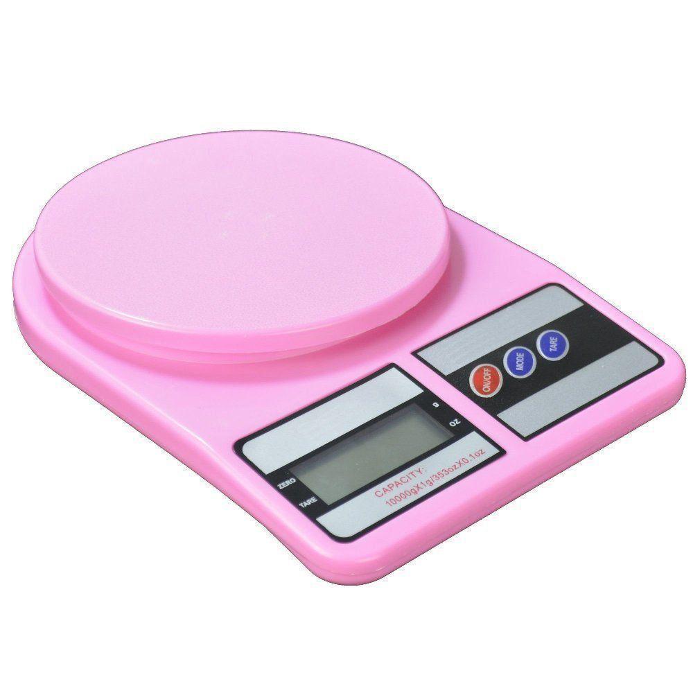 Balança Eletrônica Digital de Cozinha 10 kg Rosa CBRN04508