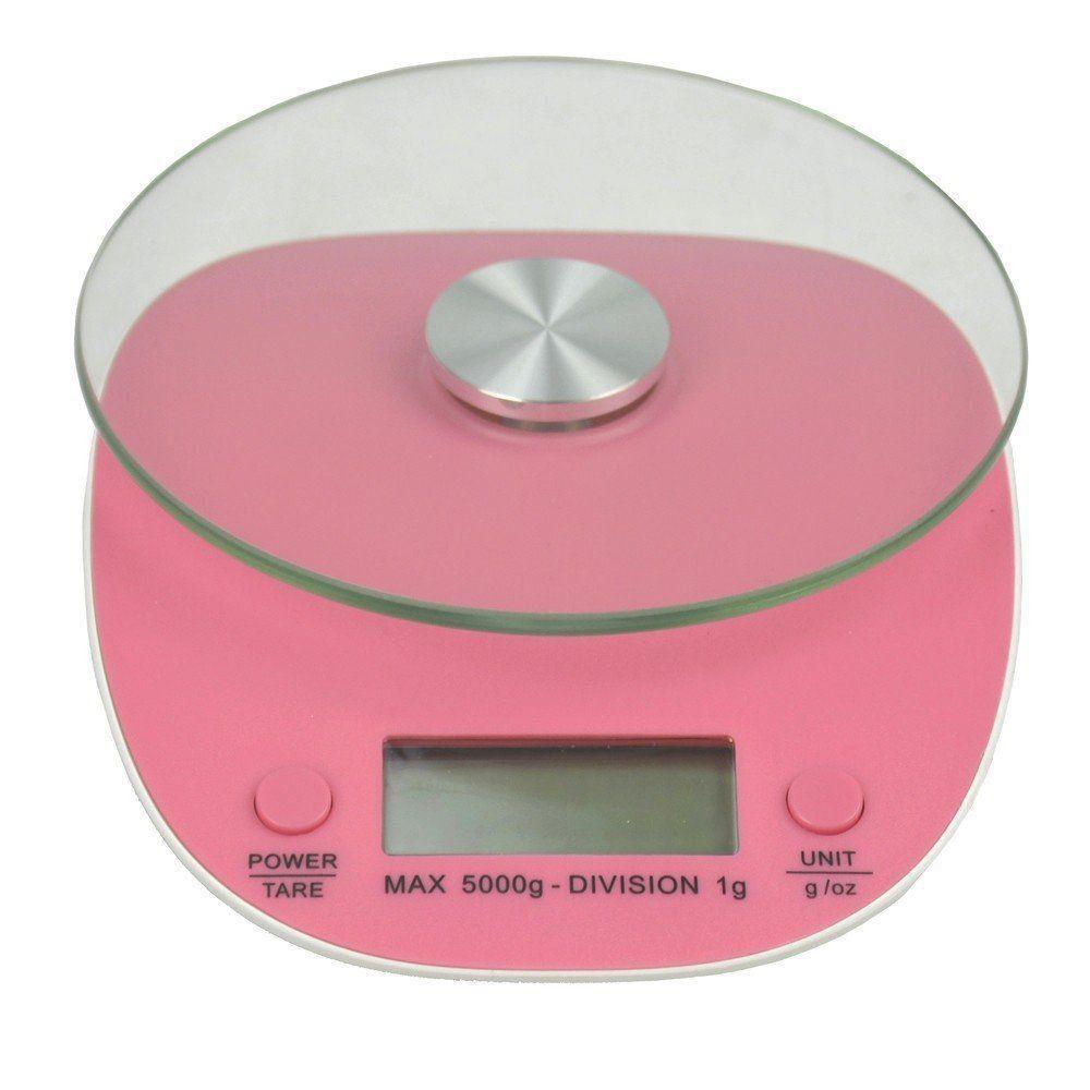 Balança Eletrônica Digital de Cozinha 5kg CBR04263 Rosa