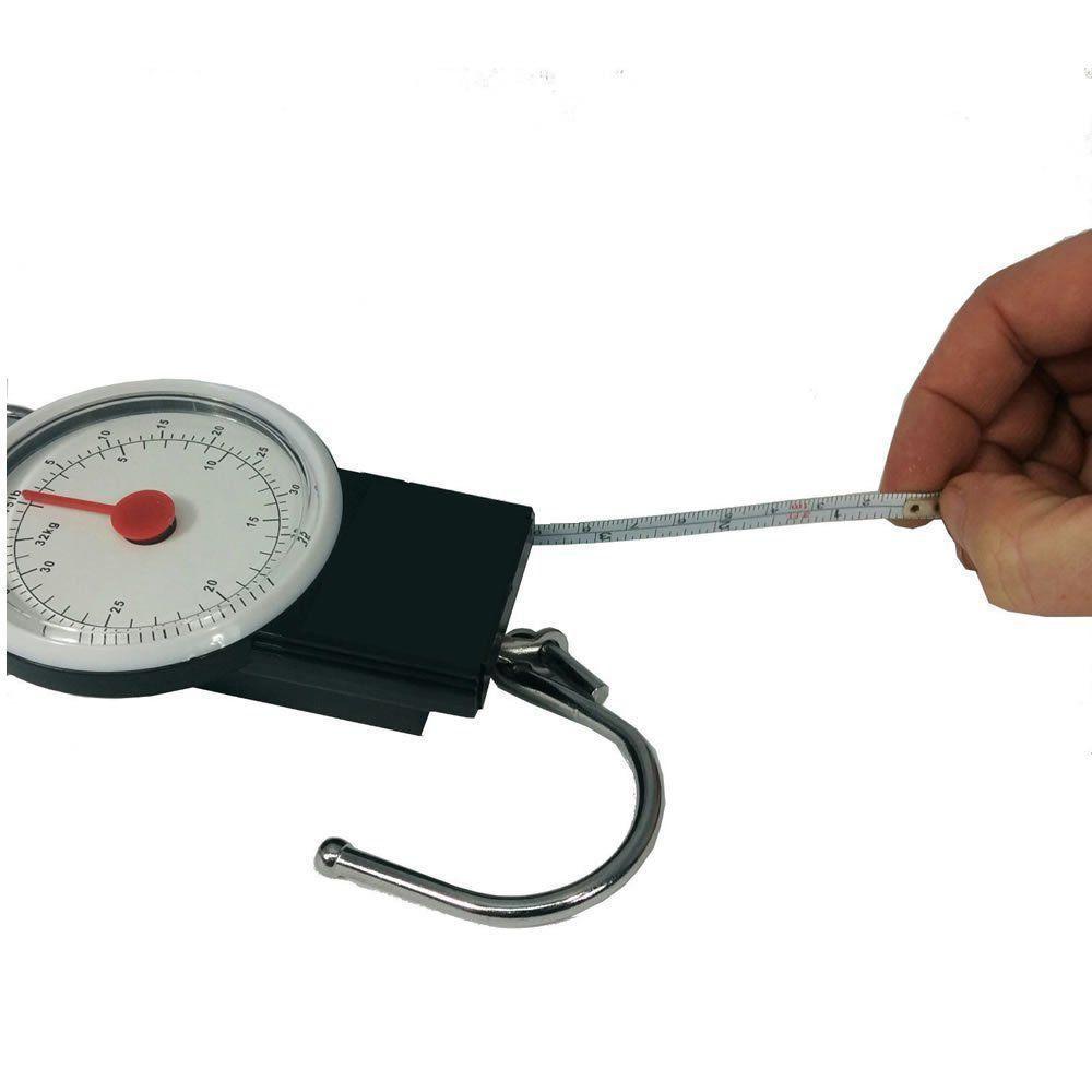 balança manual analogica com gancho para pesca bagagem 32 Kgs CBRN01477