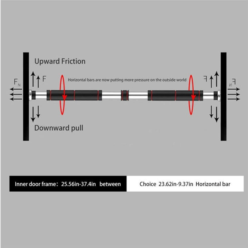 Barra de Exercícios para Porta Flexão Multifuncional 62 a 100 cm + Chaveiro CBRN16068