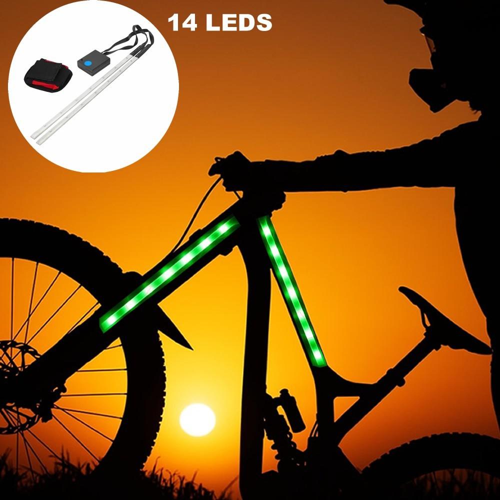 Barra Fita Led Luz Bike bicicleta + Controle Segurança noite VERDE CBRN14279