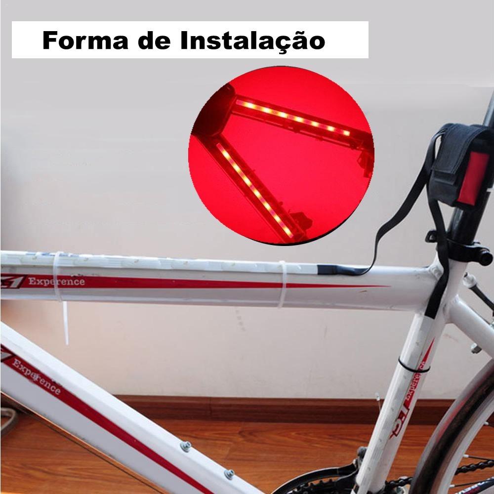 Barra Fita Led Luz Bike bicicleta + Controle Segurança noite VERMELHO CBRN14286