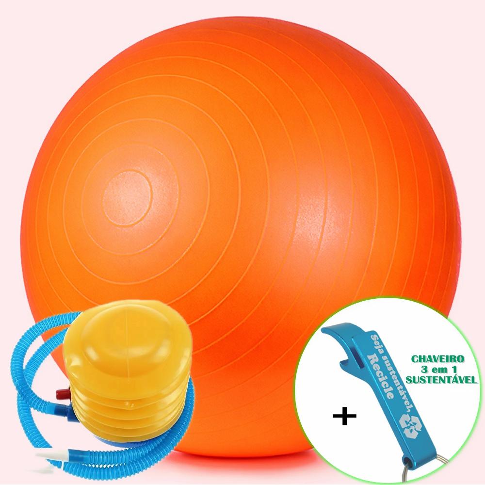 Bola Yoga Pilates Fitness Suíça 60 cm Laranja com Bomba + Chaveiro CBRN16136