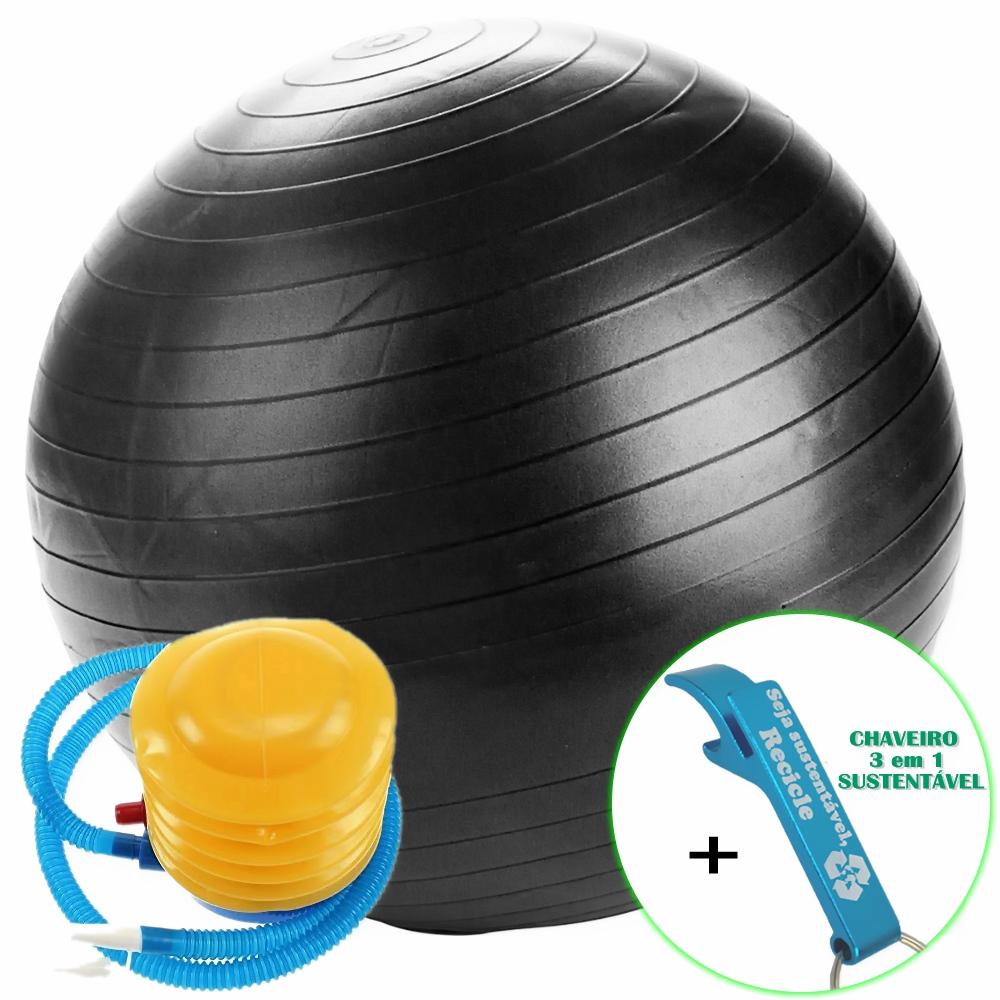 Bola Yoga Pilates Fitness Suíça 60 cm Preto com Bomba + Chaveiro CBRN16167
