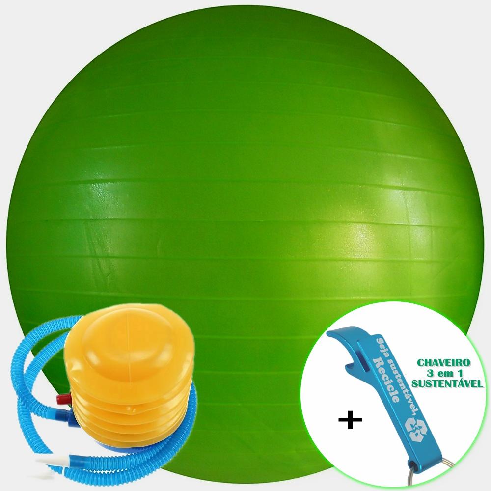 Bola Yoga Pilates Fitness Suíça 60 cm Verde com Bomba + Chaveiro CBRN16174