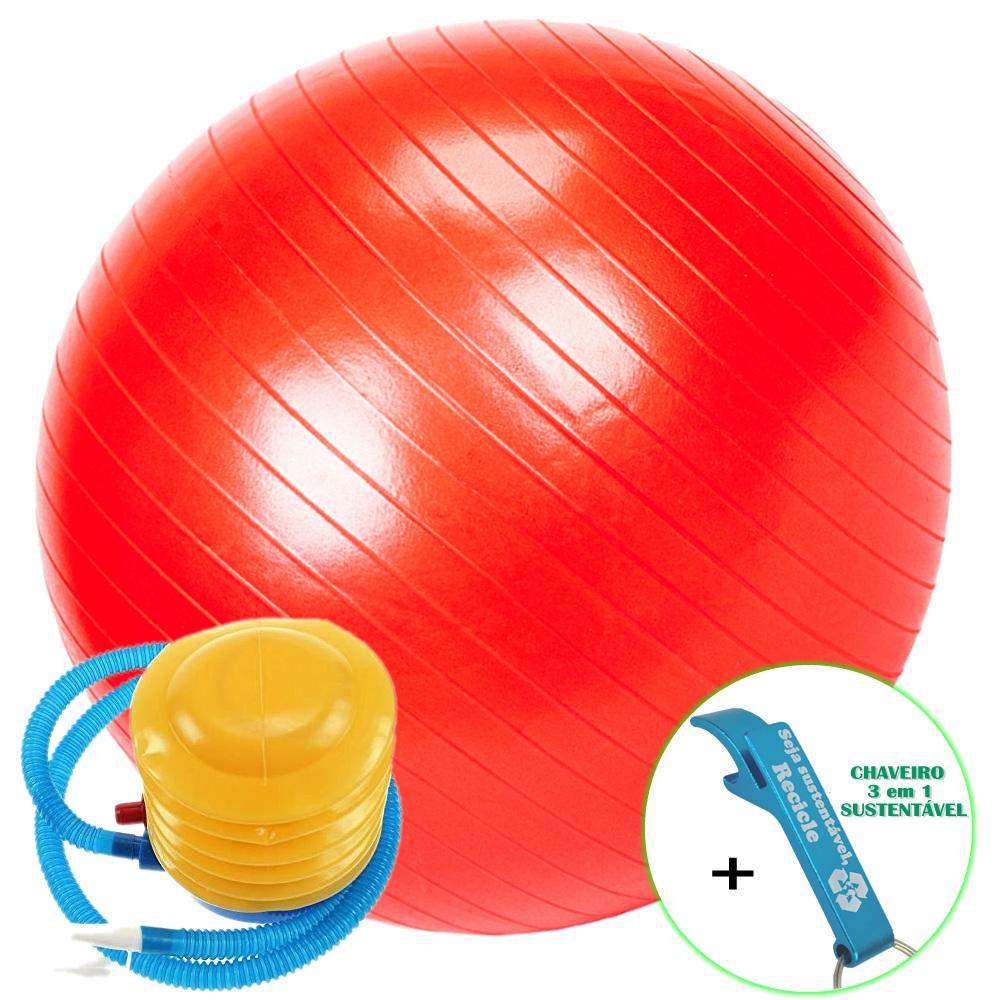 Bola Yoga Pilates Fitness Suíça 60 cm Vermelho com Bomba + Chaveiro CBRN16181