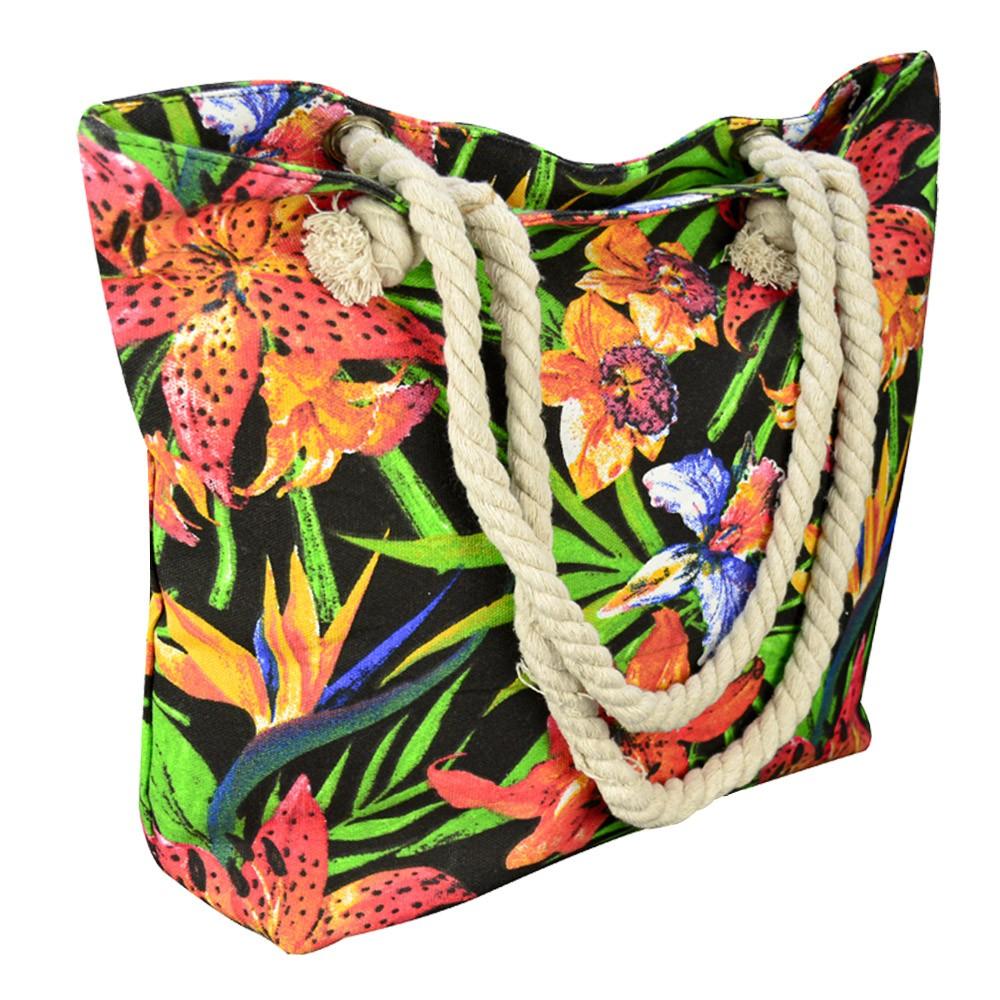 Bolsa de Praia Sacola com Alça de Corda Flores CBRN14859